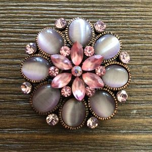 Vintage Round Pink Rhinestone Brooch Pin